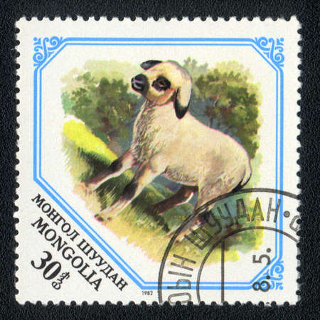 MONGOLIA - CIRCA 1982: A Stamp printed in MONGOLIA shows image of a lamb, from series - animal photo