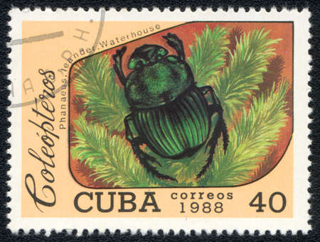 CUBA - CIRCA 1988: A Stamp printed in CUBA shows image of a (Phanaeus. Leander. Waterhouse) beetle, from series - entomofauna, circa 1988 Stock Photo - 10291657