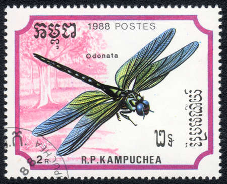 KAMPUCHEA - CIRCA 1988: A stamp printed in Kampuchea shows a dragonfly - odonata, circa 1988 Stock Photo - 10312450