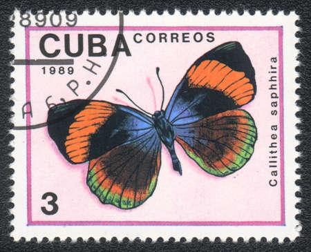 cuba butterfly: CUBA - CIRCA 1989: A Stamp printed in CUBA shows image of a callithea saphhira butterfly, circa 1989  Stock Photo