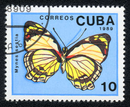 cuba butterfly: CUBA - CIRCA 1989: A Stamp printed in CUBA shows image of a mynes sestia butterfly, circa 1989  Stock Photo