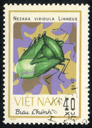 perforated stamp: VIETNAM - CIRCA 1982: A stamp printed in VIETNAM shows nezara viridula linneus, circa 1982