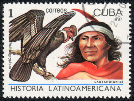 indian postal stamp: CUBA - CIRCA 1987: A Stamp printed in CUBA shows image of a  lautaro (Chili) and vultur gryphus, from series Historia Latinoavericana, circa 1987 Stock Photo