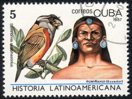 indian postal stamp: CUBA - CIRCA 1987: A Stamp printed in CUBA shows image of a   ruminahui (Ecuador) and semnornis ramphastinus, from series Historia Latinoavericana, circa 1987