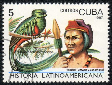 CUBA - CIRCA 1987: A Stamp printed in CUBA shows image of a   tecum uman, (Guatemala) and pharomachrus mocinno, from series Historia Latinoavericana, circa 1987