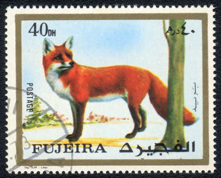 perforated stamp: Fujairah - CIRCA 1973: A stamp printed in  Fujairah and shows a Fox , circa 1973 Stock Photo