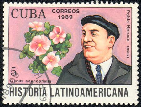 CUBA - CIRCA 1989: A stamp printed in CUBA  shows  a Oxalis adenophylla and Pablo Neruda, series Historia Latinoamericana, circa 1989