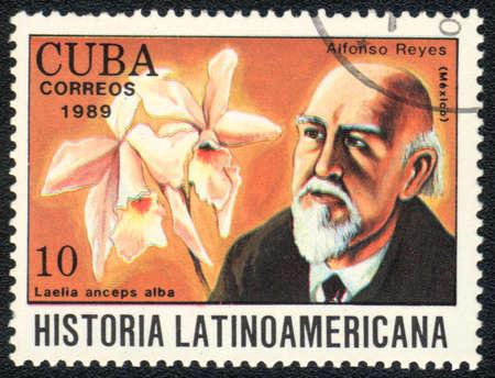 CUBA - CIRCA 1989: A stamp printed in CUBA  shows  a  Laelia anceps alba and Alfonso Reyes, series Historia Latinoamericana, circa 1989