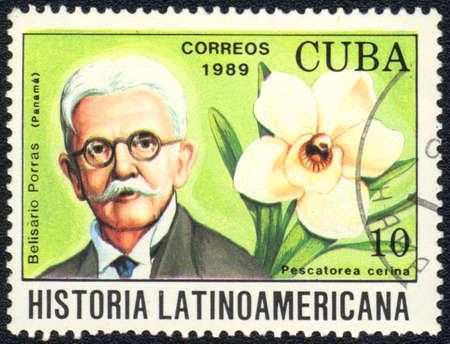 CUBA - CIRCA 1989: A stamp printed in CUBA  shows  a Pescatorea cerina and Belisario Porras, series Historia Latinoamericana, circa 1989