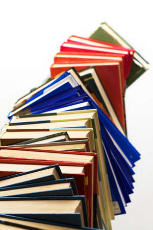 High stack of books over white Stock Photo - 11139260