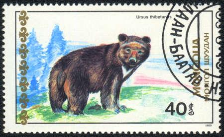 MONGOLIA - CIRCA 1989: A Stamp printed in MONGOLIA shows Ursus thibetanus,