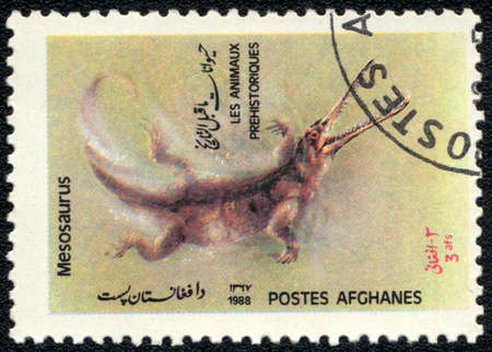 AFGHANISTAN - CIRCA 1988: A stamp printed in AFGHANISTAN shows Mesosaurus, series, circa 1988 photo