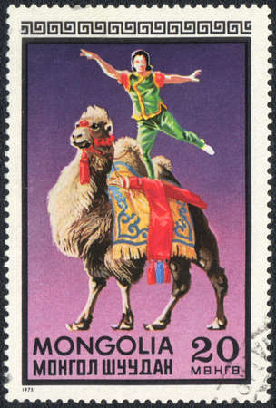 camel post: MONGOLIA - CIRCA 1973: A stamp printed in MONGOLIA shows a acrobatic feat on the camel, circus series, circa 1973