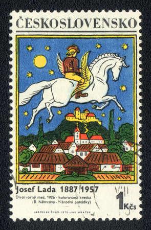 famous writer: CZECHOSLOVAKIA - CIRCA 1970: A stamp printed in CZECHOSLOVAKIA  shows  a Josef Lada - writer and artist, circa 1970