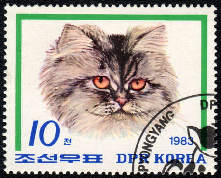 DPR KOREA - CIRCA 1983: A stamp printed in DPR KOREA  shows a head of cat, from series Breeds of cats, circa 1983 photo