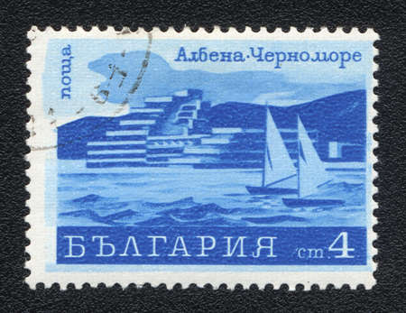 BULGARIA - CIRCA 1979  A stamp printed in BULGARIA  shows Albena - Black Sea resort , from series, circa 1979 photo