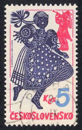 czechoslovakia: CZECHOSLOVAKIA - CIRCA 1980: A stamp printed in CZECHOSLOVAKIA  shows dancing girl, from series, circa 1980
