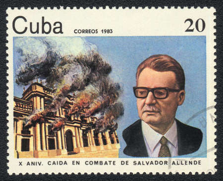 salvador allende: CUBA - CIRCA 1983: A stamp printed in CUBA  shows Salvador Allende, from series, circa 1983