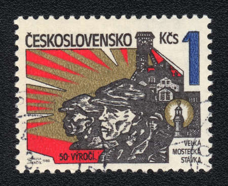 pitman: CZECHOSLOVAKIA - CIRCA 1982: A stamp printed in CZECHOSLOVAKIA  shows The great Most strike, from series, circa 1982 Stock Photo