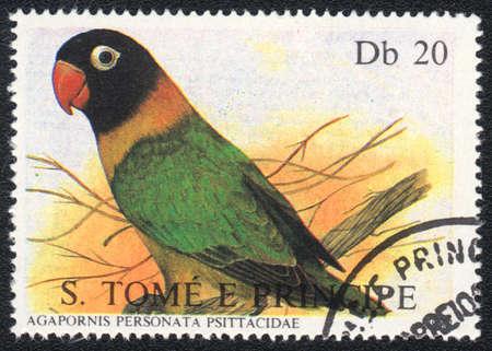 psittacidae: SAO TOME AND PRINCIPE - CIRCA 1987: A stamp printed in SAO TOME AND PRINCIPE   shows Yellow-collared Lovebird ( Agapornis personata psittacidae), from series, circa 1987