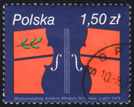 POLAND - CIRCA 1979: A stamp printed in POLAND   shows International Competition for Young Violinistst,  circa 1979 Stock Photo - 13873480