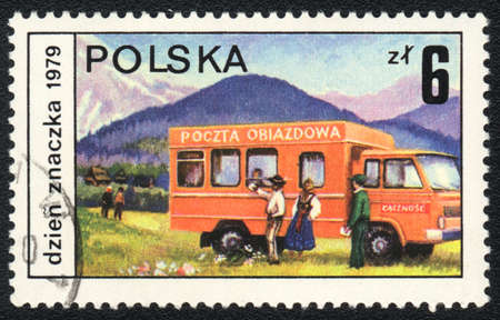 POLAND - CIRCA 1980: A stamp printed in POLAND   shows Mail Transport, from series, circa 1980 photo