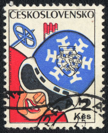 CZECHOSLOVAKIA - CIRCA 1977: A stamp printed in CZECHOSLOVAKIA  shows  Speed skiing , from series, circa 1977 photo