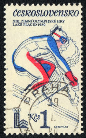 CZECHOSLOVAKIA - CIRCA 1980: A stamp printed in CZECHOSLOVAKIA  shows  Speed skiing  XIII Olympic games in  Lake Placid, from series, circa 1980