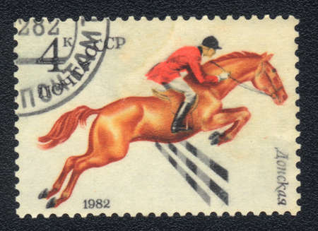 USSR - CIRCA 1982  A stamp printed in USSR shows  a  Donskaya horse racing , series horse breed in a equestrian sport, circa 1982