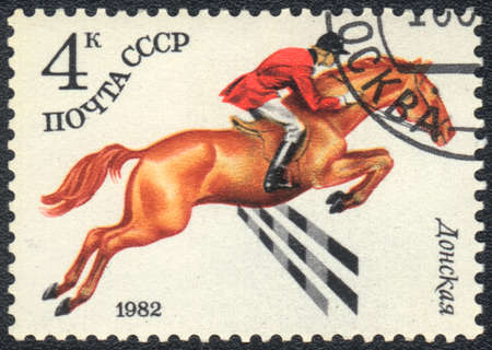 USSR - CIRCA 1982  A stamp printed in USSR shows  a  Donskaya horse racing , series horse breed in a equestrian sport, circa 1982 Stock Photo - 13877267