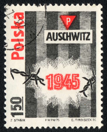POLAND - CIRCA 1975: A stamp printed in POLAND   shows  Auschwitz concentration camp, circa 1975 photo