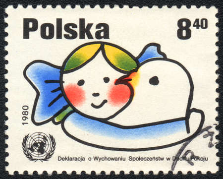 POLAND - CIRCA 1980: A stamp printed in POLAND   shows  Declaration on Education in the Spirit of Peace, from series, circa 1980 photo