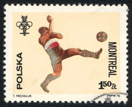 POLAND - CIRCA 1976: A stamp printed in POLAND   shows   Football - Olympiad in Montreal, from series, circa 1976 Stock Photo - 13889756