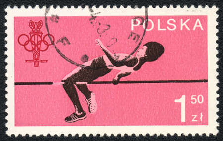POLAND - CIRCA 1980: A stamp printed in POLAND   shows  High jump  , from series, circa 1983 Stock Photo - 13889667