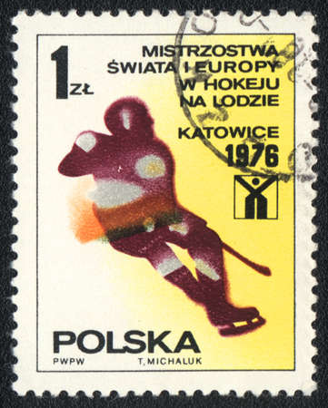 POLAND - CIRCA 1976: A stamp printed in POLAND   shows  European and World Championships in ice hockey, from series, circa 1976 photo