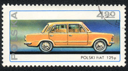 POLAND - CIRCA 1982: A stamp printed in POLAND   shows   Passenger car Polish FIAT 125 p, from series, circa 1982 Stock Photo - 13889741