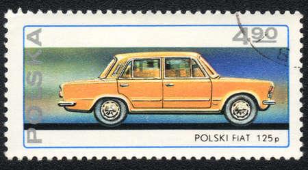 POLAND - CIRCA 1982: A stamp printed in POLAND   shows   Passenger car Polish FIAT 125 p, from series, circa 1982 photo