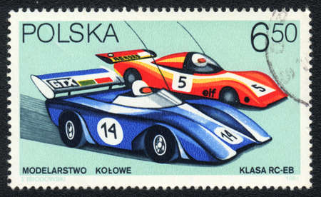 POLAND - CIRCA 1981: A stamp printed in POLAND   shows   Radio-controlled model car racing, from series, circa 1981 Stock Photo - 13889751