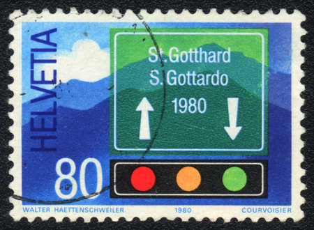 helvetia: SWITZERLAND - CIRCA 1980: A stamp printed in SWITZERLAND   shows  Road signs, from series, circa 1980