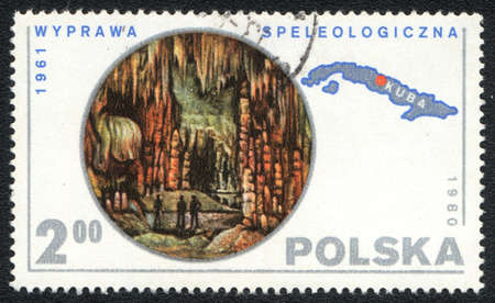 speleology: POLAND - CIRCA 1980: A stamp printed in POLAND   shows   Speleology, from series, circa 1980