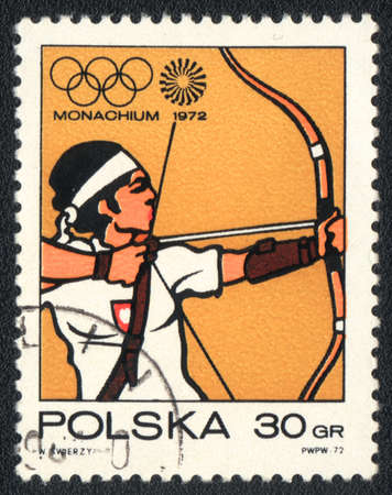 POLAND - CIRCA 1972: A stamp printed in POLAND   shows   Target archery Olympic Games in Munich, from series, circa 1972 Editorial