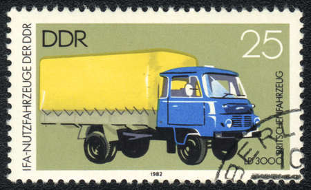 autotruck: DDR - CIRCA 1982: A stamp printed in DDR   shows  autotruck  LD 3000 , from series, circa 1982