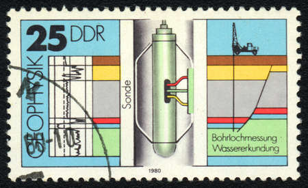 ddr: DDR - CIRCA 1980: A stamp printed in DDR   shows Sonde, from series Geophysics, circa 1980