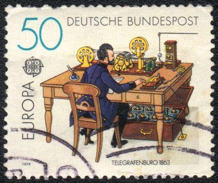 telegraphy: DDR-CIRCA 1979: Un timbro stampato in mostra DDR Telegrafia, circa 1979