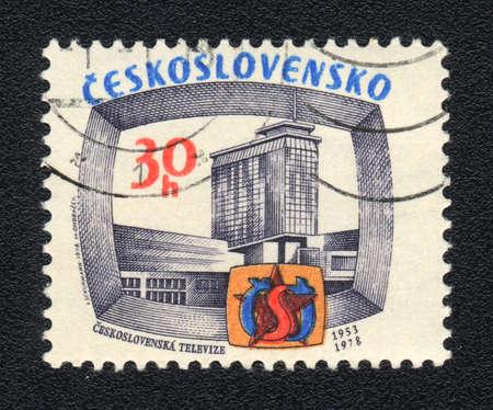 czechoslovak: CZECHOSLOVAKIA - CIRCA 1978: A stamp printed in CZECHOSLOVAKIA  shows Czechoslovak television, circa 1978