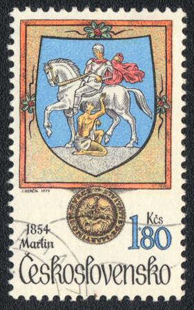 printmaker: CZECHOSLOVAKIA - CIRCA 1979: A stamp printed in CZECHOSLOVAKIA  shows  John Martin (1789-1854) - English painter, printmaker, circa 1979