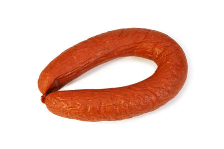 unharmed: Smoked sausage Krakovskaya isolated on white background