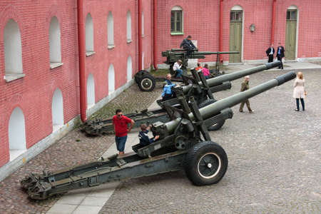 Artillery guns in the courtyard of the fortress in St  Petersburg Russia Stock Photo - 16558633