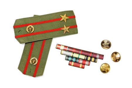 epaulettes: Epaulettes, medal ribbon and buttons isolated white background Stock Photo