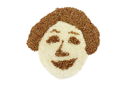Rice and buckwheat as a merry woman face isolated on white background Stock Photo - 17692019